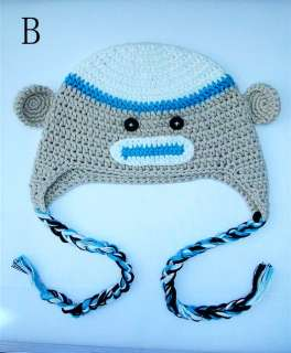 Cute Gorgeous Baby Toddler Children Sock Monkey Ski Style Knit Hat