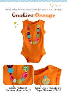 Baby Newborn & Baby Girls Cute Bodysuit  Cookies Orange