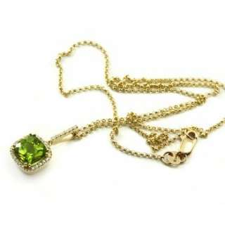 CUT GREEN PERIDOT & DIAMONDS 14K YELLOW GOLD NECKLACE PENDANT