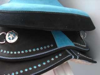 16 BLUE BLING BLACK WESTERN HORSE SADDLE 5PC SET TRAIL