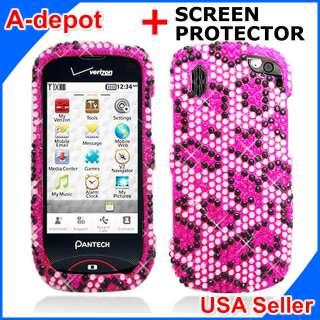 Verizon Pink Leopard Bling Hard Case Cover+Screen Protector |