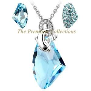 Swarovski Crystal Necklace Earring SET Lake Blue Cute