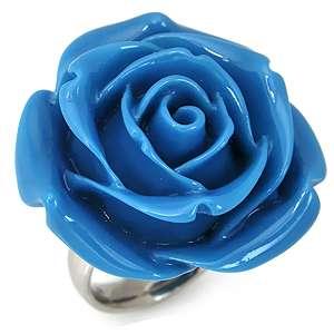 34MM HUGE Turquoise Blue Stainless Steel ROSE/FLOWER Ring(RN2075543