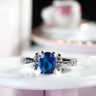 Fashion Jewelry 1x8mm Oval Blue Sapphire Fine Clear Topaz Ring SZ Q/8