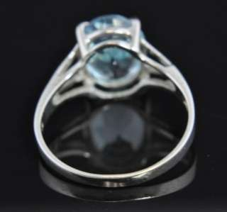 Vintage 14k White Gold Blue Topaz Solitaire Ring Signed