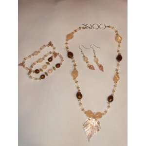 Beleza Shimmering Leaf Fashion Jewelry Necklace, Bracelet and Earrings