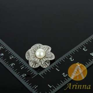 ARINNA chic flower pearl rhinestone fashion Brooch Pin 18K WGP