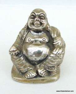 Vintage Antique Silver Laughing Buddha Statue Figure