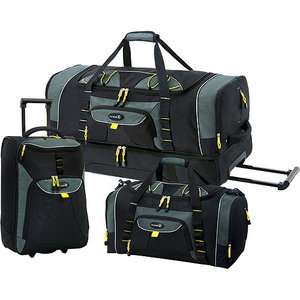 Travelers Club 3 Piece 2 Tone Rolling Travel Duffel Bag