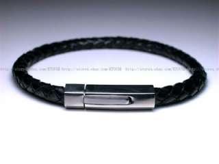 Mens Cow Leather Black 316L Stainless Steel Bracelet N