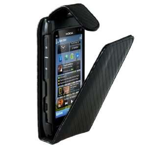 BLACK NOKIA CARBON FIBRE LEATHER FLIP CASE COVER FOR N8