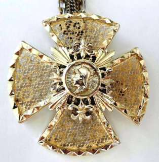 With Large Filigree Celtic Heraldic Fleur de Lis Cross Pendant