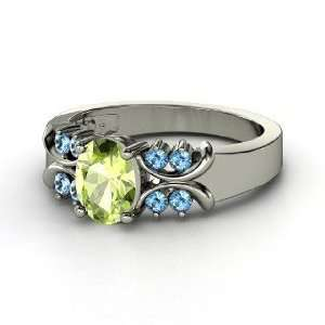 Gabrielle Ring, Oval Peridot 14K White Gold Ring with Blue