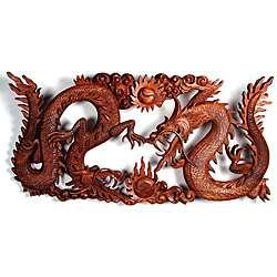 Suar Wood Dragon Yin yang Wall Plaque (Indonesia)