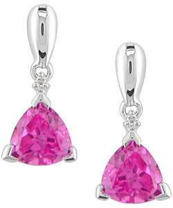 Gold Trillion Created Pink Sapphire Diamond Earrings