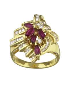 18k Yellow Gold Ruby and 1ct TDW Diamond Ring