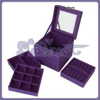 Suede VINTAGE Purple HIGH QUALITY Jewelry Box Storage