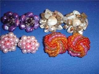 Vintage Aurora Borealis Crystal Bead West Germany Japan Clip Earrings