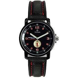 Titan Mens Black Dial Leather Strap Watch