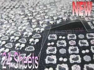 Nail Art Glitter 3D Sticker Decal Hello Kitty, Cartoon 24Sheets Set A