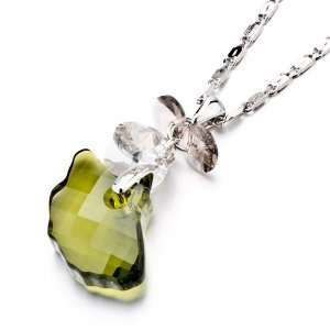 Green Brown Crystal Pendant Necklace: Pugster: Jewelry