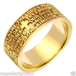 14K Gold Religious Cross Bible Verse Wedding Band Ring