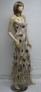 Sue Wong Designer Dress Floral 6 Cocktail Peachy Beige Brown Long gown