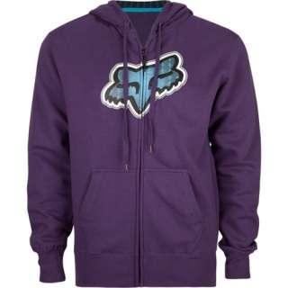 Fox Racing Mens Full Zip Hoodie Sweatshirt Purple Medium