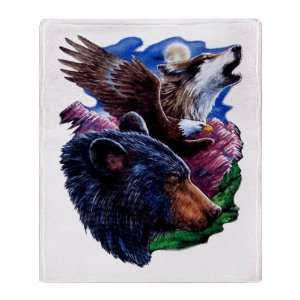 Stadium Throw Blanket Bear Bald Eagle and Wolf: Everything Else