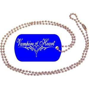 Vampire At Heart Blue Dog Tag with Neck Chain: Everything