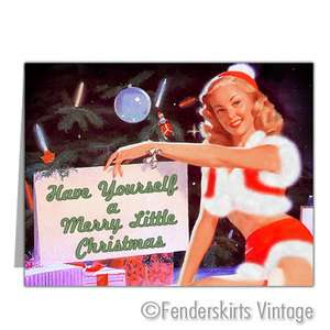 Vintage Repro Retro 1950s Pinup Girl Christmas Cards