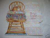 Carols Rose Garden Greeting Card Thank You Chair w/Cat