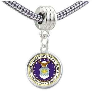 Air Force Dept Seal Photo European Bead Dangle Charm