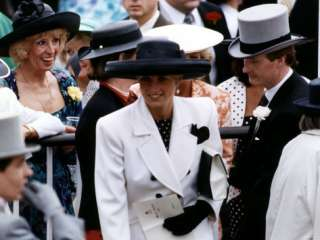 Princess Diana Royal Ascot Wearing Black and White Suit and Black Hat