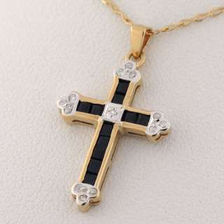 14K Yellow Gold Diamond Sapphire Cross Pendant Necklace