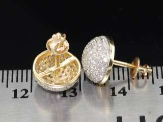 MENS LADIES YELLOW GOLD DIAMOND STUD CIRCLE EARRINGS