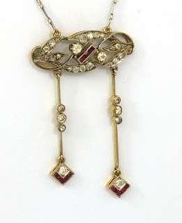 ART DECO 18K GOLD, PLATINUM, DIAMONDS & RUBIES LADIES NECKLACE