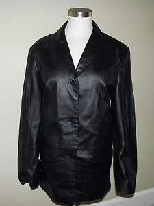 Outbrook Lovely Black Leather Coat Jacket M Women Button