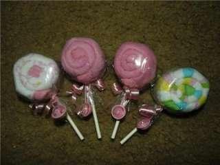 Washcloth Lollipop candy baby shower favor boy girl