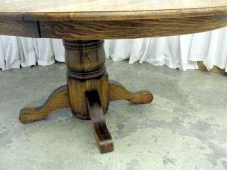 Round Pedestal Style Table w Empire Feet & Legs Golden Oak 1 Leaf NICE