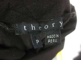 THEORY Dark Brown Turtleneck Short Sleeve Shirt Top P