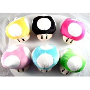 Super Mario 4 Mushroom Plush, a Set of 3 Pcs, Randomly