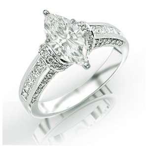 0.82 Carat Pave Set Round Diamonds Engagement Ring