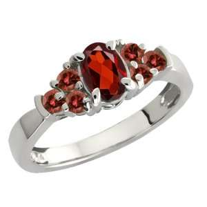 0.79 Ct Oval Red Garnet and Cognac Red Diamond Sterling