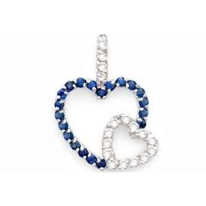 0.66 Ct Sapphire & Diamond Pendant Heart Shape 14K Gold
