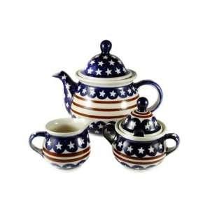 Polish Pottery Stars & Stripes Three Piece Tea Set