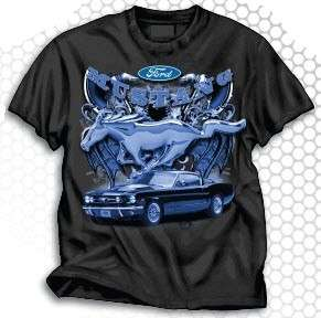 Ford Mustang Blue Pony T Shirt with Car and Logo Black with Blue