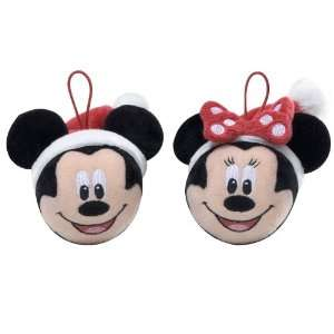 Mickey & Minnie Mouse 2 Piece Plush Holiday Ornament Set