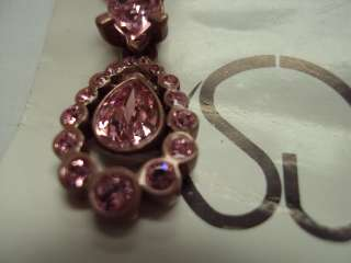 St. John Knit Light Pink Crystal Zipper Pull Pendant