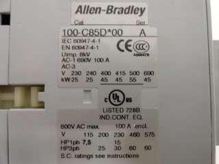 Allen Bradley Contactor Catalog# 100 C85D*00!
